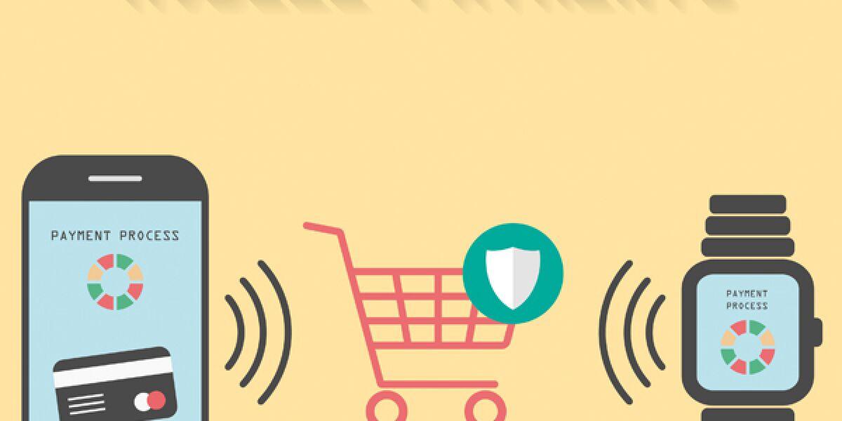Smartphone AppleWatch und Einkaufswagen