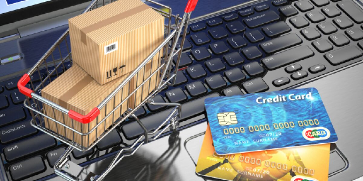 Notebook Einkaufswagen Kreditkarten