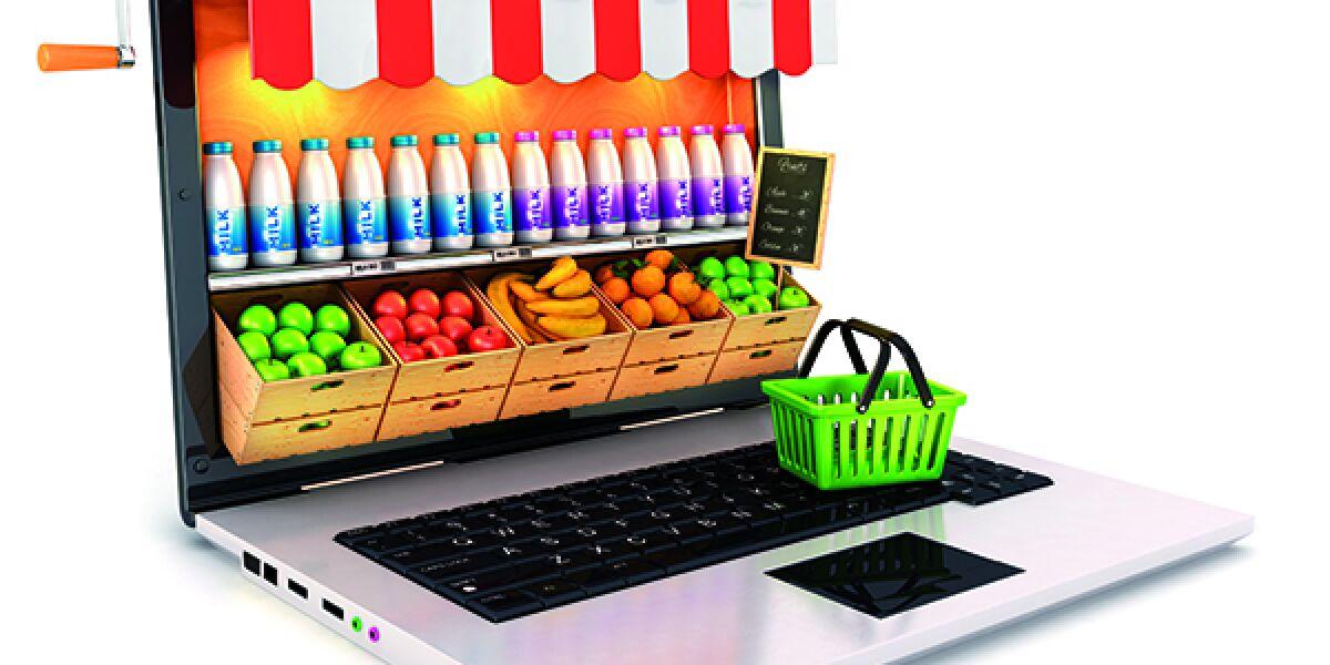 Lebensmittel-Laden auf dem Laptop