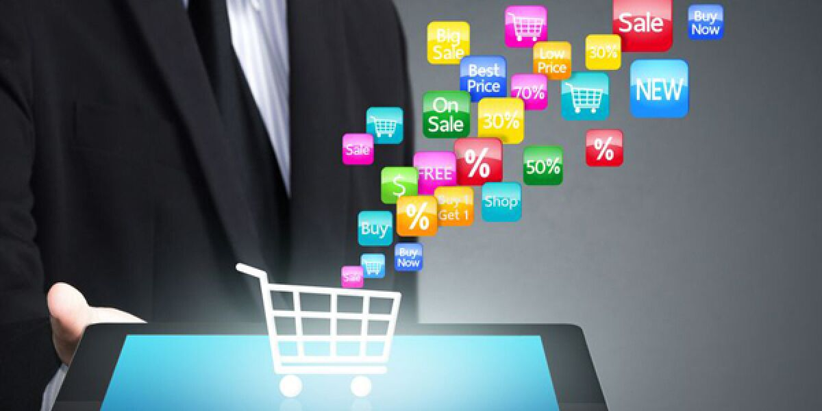 Einkaufswagen auf Tablet