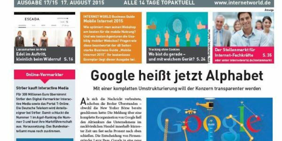 Das Cover der Ausgabe 17 der INTERNET WORLD Business