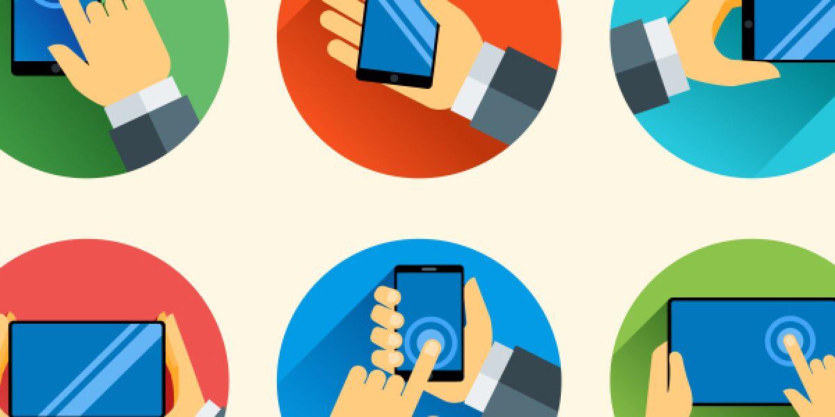 Tippen auf Smartphone und Tablet