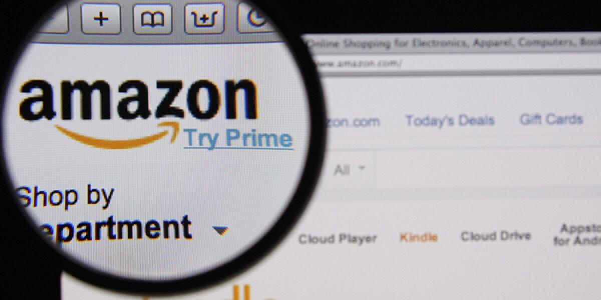 Amazon Webseite mit Logo
