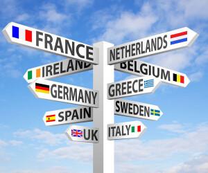 Wegweiser-Pfeile mit europäischen Ländern
