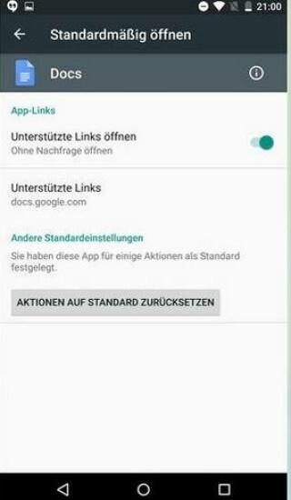 App-Links -  Auch das ist neu: Den einzelnen Apps kann man nun in den Einstellungen mitteilen, welche Links, ohne nachzufragen, gleich geöffnet werden sollen.