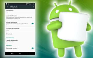 Verschlüsselung ab Werk -  Android Marshmallow verschlüsselt den ganzen Telefonspeicher ohne eigenes Zutun schon ab Werk - lediglich das Anlegen einer PIN ist erforderlich.