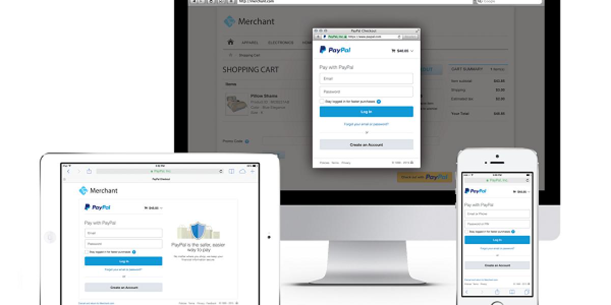 paypal auf Desktop-pc und Smartphone