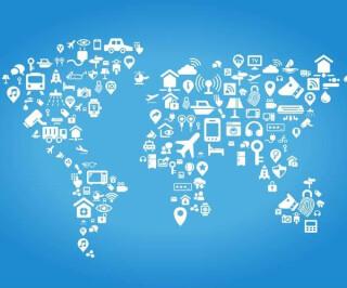 Weltkarte mit Symbolen