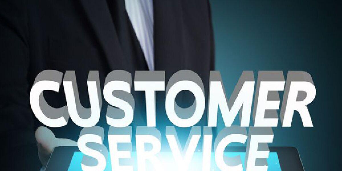 Tablet mit Schritfzug Customer Service