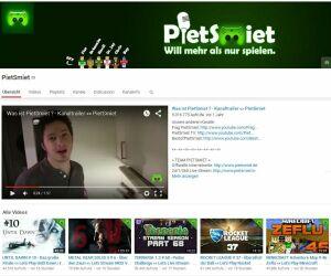 Screenshot von der pietsmiet Youtube-Seite