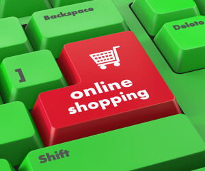 Computer mit Online Shopping Taste