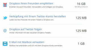 Dropbox kostenloser Speicherplatz via Social Media