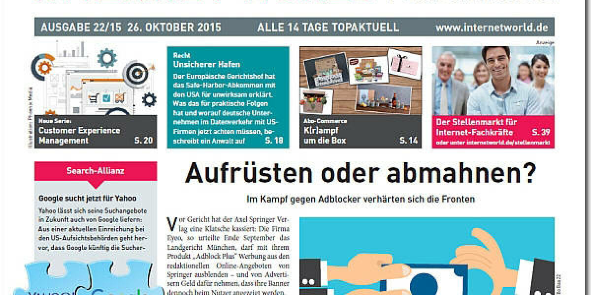 Das Cover der 22. Ausgabe 2015 der INTERNET WORLD Business