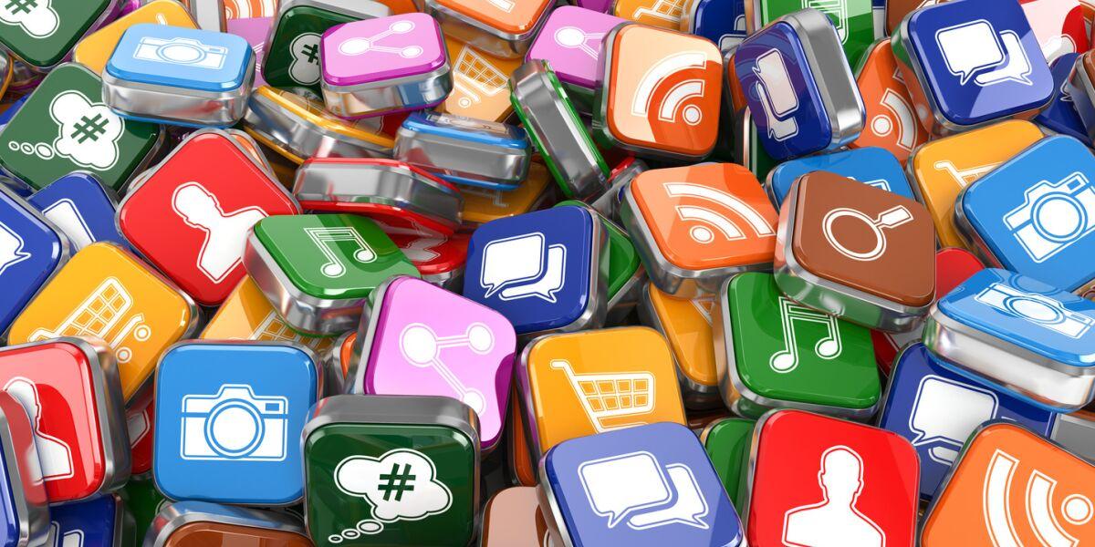 App-Icons auf einem Haufen