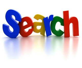 Search aus bunten Buchstaben