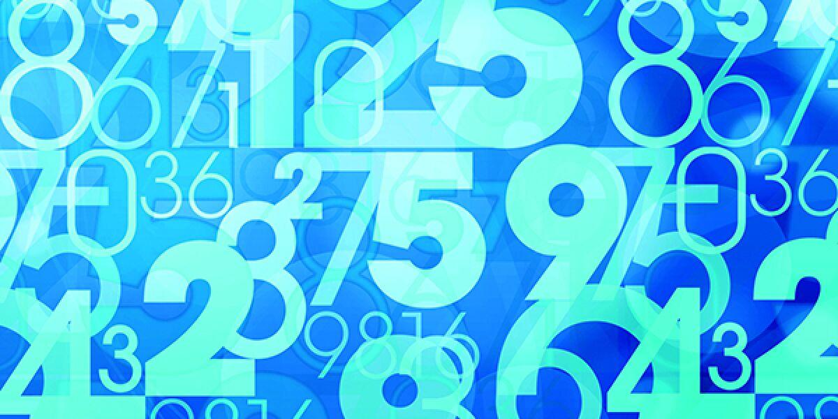 Zahlen auf blauem Hintergrund