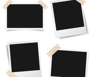 Vier schwarze Fotos