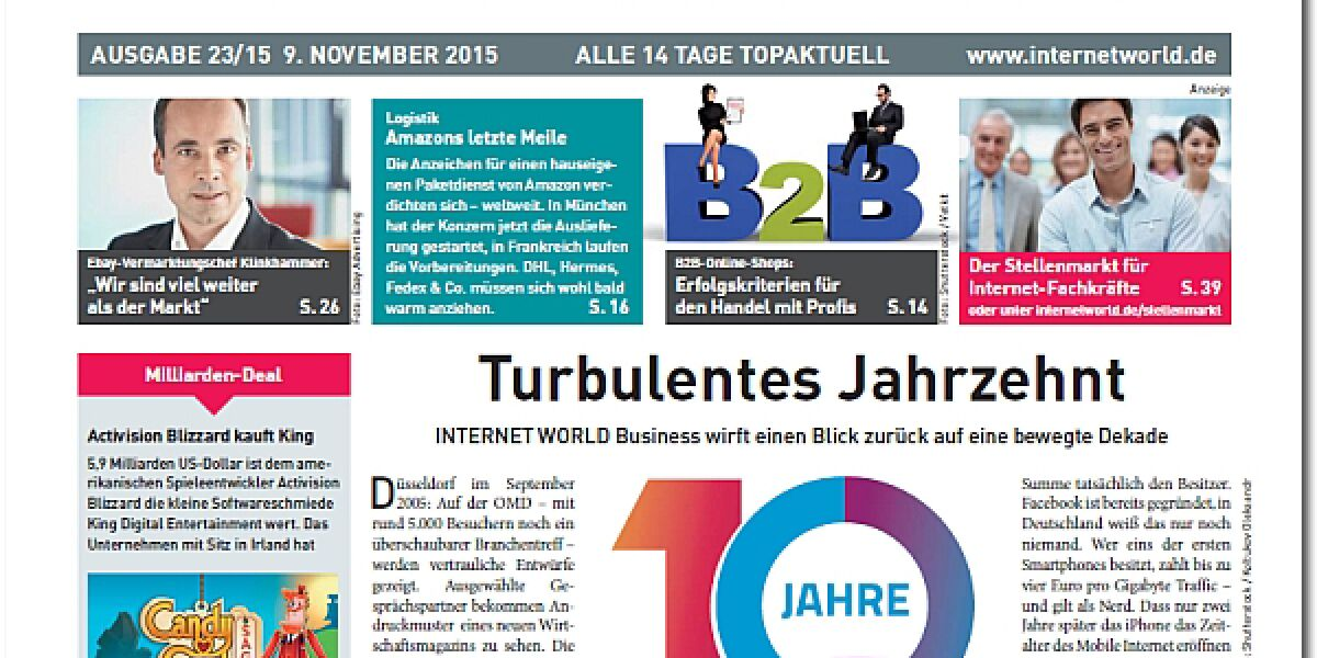 Das Cover der 23. Ausgabe 2015 der INTERNET WORLD Business
