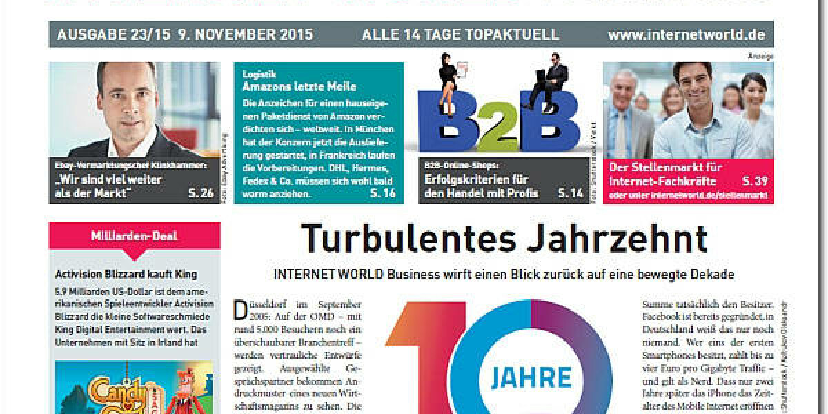 Das Cover der 23. Ausgabe 2015 der INTERNET WORLD Business