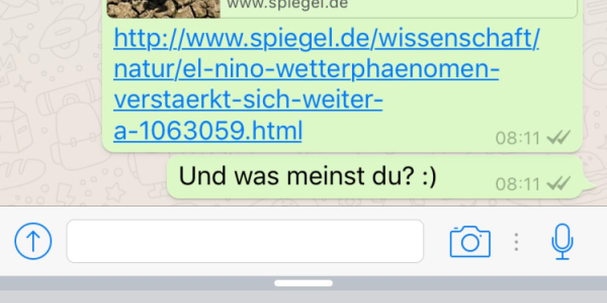 Whatsapp hat nun eine Vorschau mit Bild für versendete Links