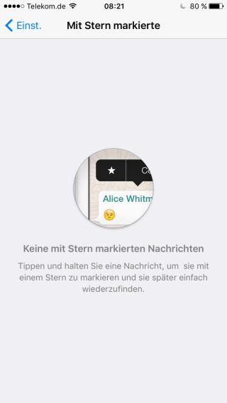 Whatsapp bündelt mit einem Stern markierte Nachrichten