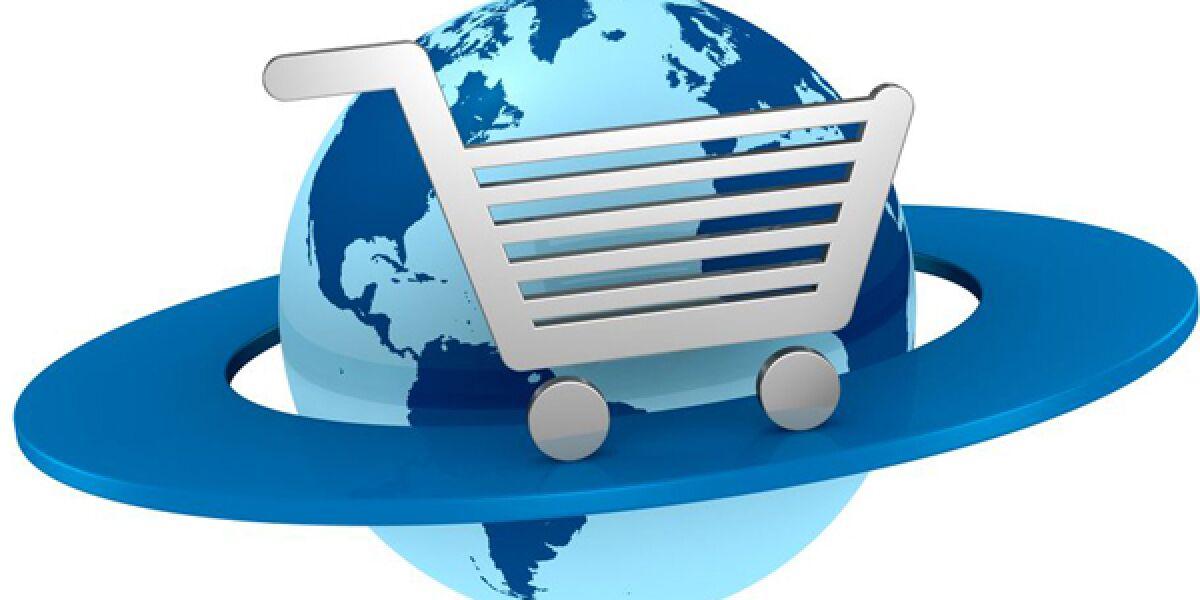 Weltkugel wird von Einkaufswgen umkreist