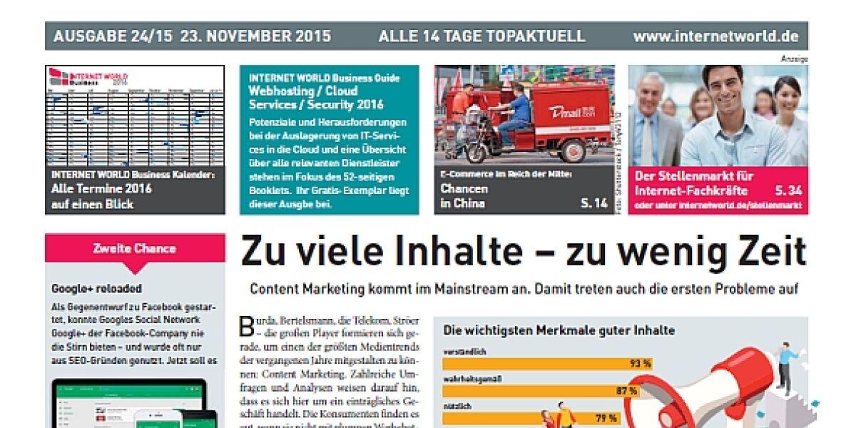 Das Cover der 24. Ausgabe der INTERNET WORLD Business im Jahr 2015