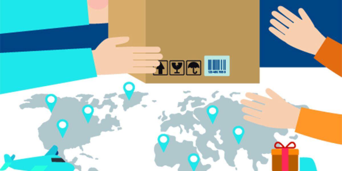 Handel mit Paket rund um die Welt