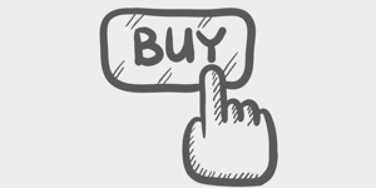 Hand Symbol klickt auf einen Buy Button