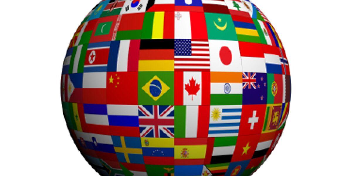 Weltkugle mit Flaggen