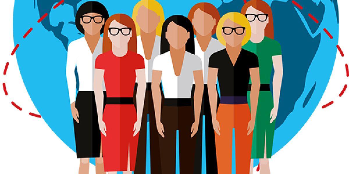 Gruppe Frauen steht vor der Weltkugel