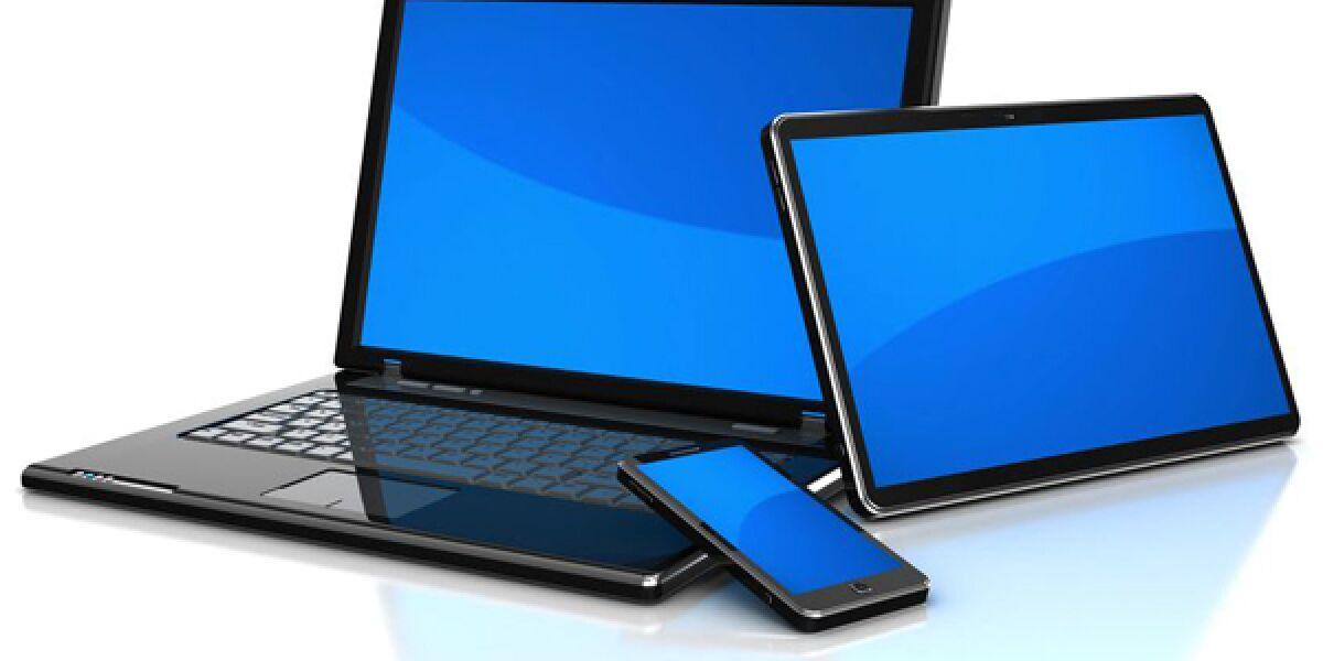 Laptop, Tablet und Smartphone