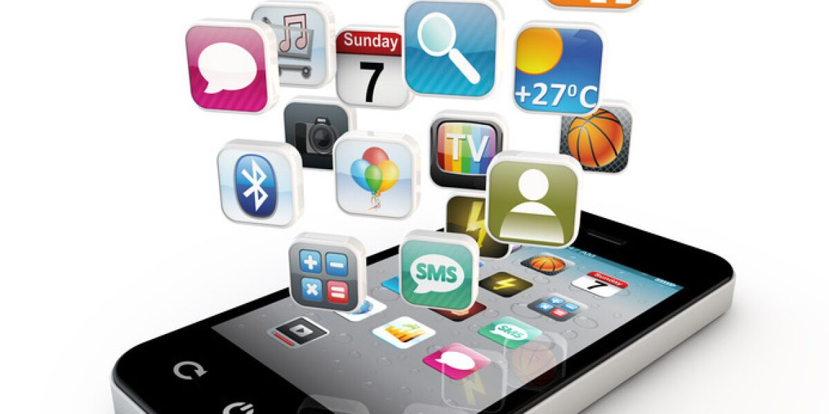 App-Symbole-fallen-auf-Smartphone