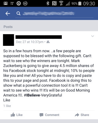Facebook-Kettenbrief