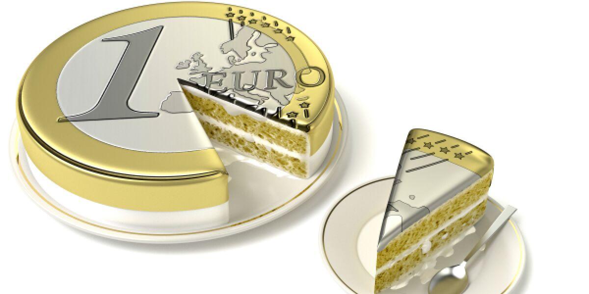 Euromünze als Kuchen