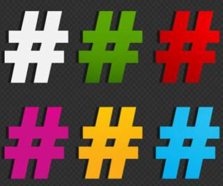 Sechs bunte Hashtags