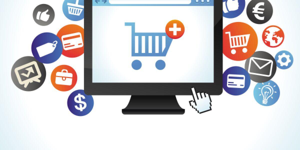 Einkaufswagen auf PC-Display