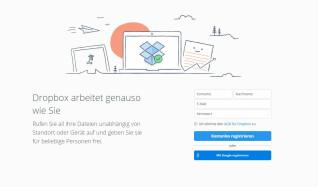 Startseite von Dropbox