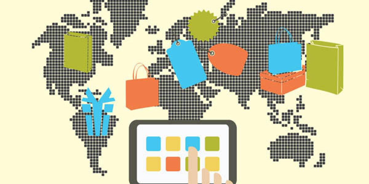 Weltkarte mit Tablet