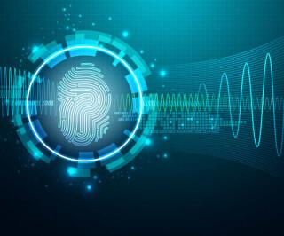 Fingerabdruck mit Daten und Wellen