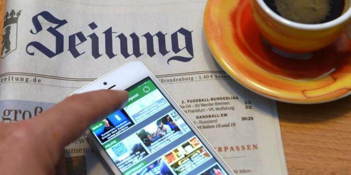 Handy Kaffetasse Zeitung