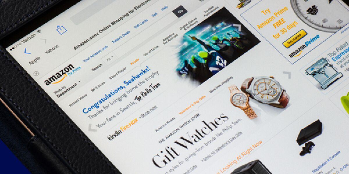 Amazon Website auf Tablet