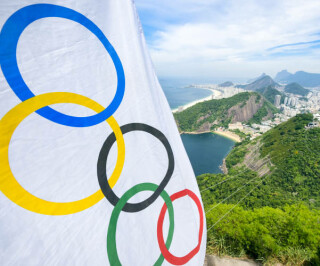 Olympische Flagge in Rio