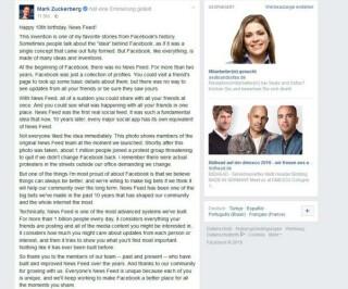 Zuckerberg Post auf Facebook