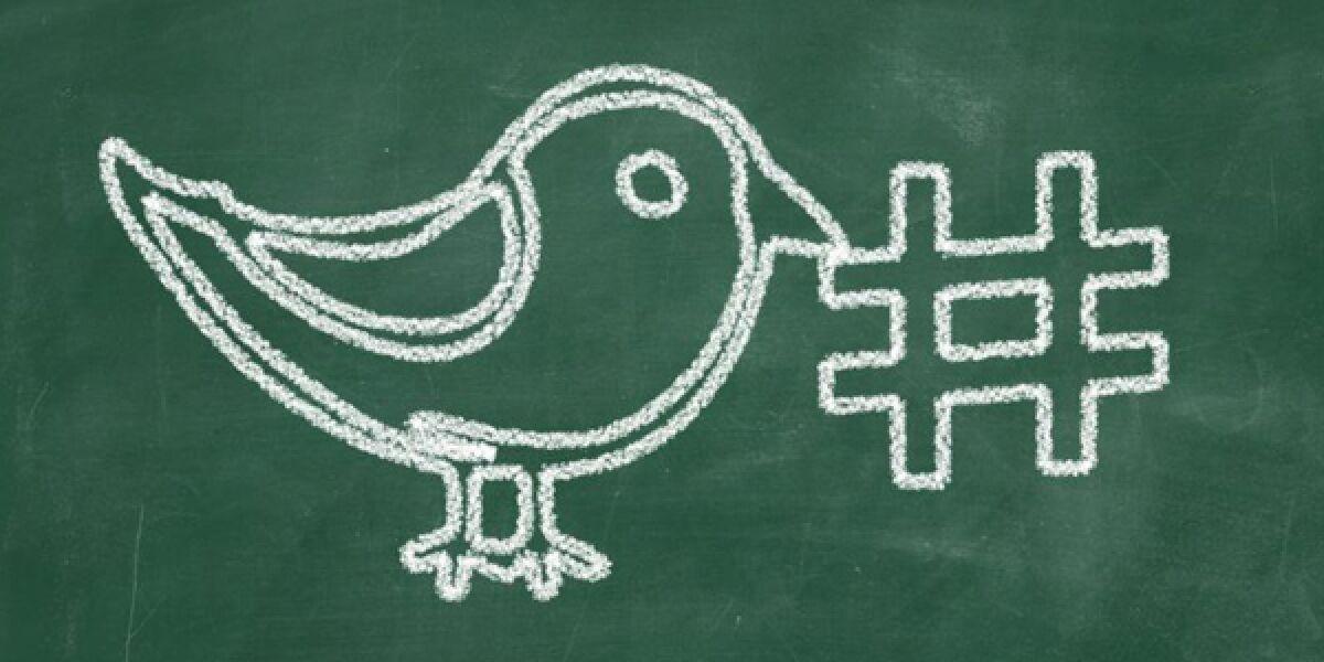 Twitter Vogel mit Hashtag