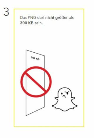 Dateigröße für einen Snapchat Geofilter