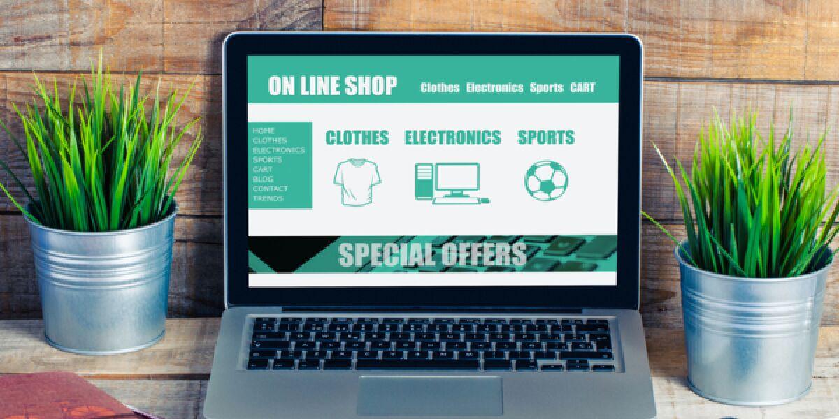 Laptop mit Online-Shop