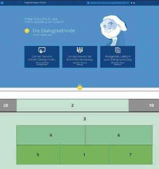 Uability Website im Material-Design mit Aufmerksamkeitstest