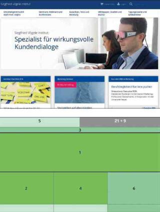 Usability Website im Card-Design mit Aufmerksamkeitstest
