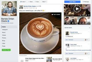 Die Facebook-Seite von Barista Dritan Alsela